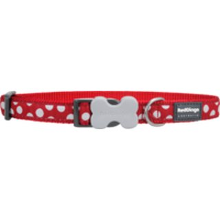 Red Dingo Halsband White Spots on Red XS